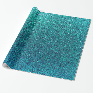 Faux Aqua Teal Turquoise Blue Glitter Background Wrapping Paper