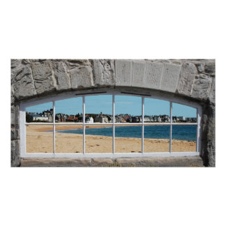 Faux Arched Window with View of Sandy Beach Poster