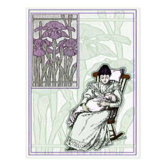 Faux Art Nouveau New Baby Postcard