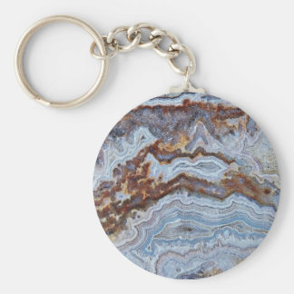 Faux Bacon Agate Basic Round Button Keychain