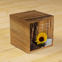 Faux Barn Wood Country Sunflower Western Wedding Favor Box
