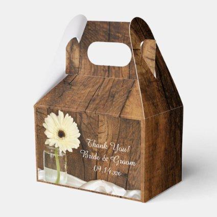 Faux Barn Wood Mason Jar and White Daisy Wedding Wedding Favor Box