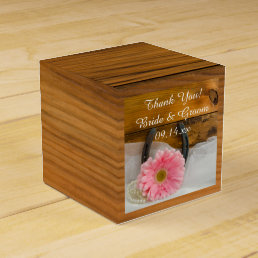 Faux Barn Wood Pink Daisy and Horseshoe Wedding Favor Box
