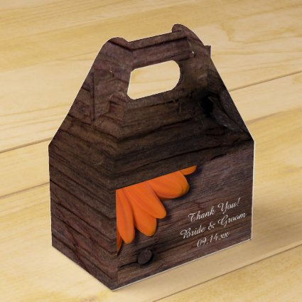 Faux Barn Wood Rustic Orange Daisy Wedding Wedding Favor Box