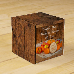 Faux Barn Wood Rustic Pumpkins Fall Wedding Favor Box