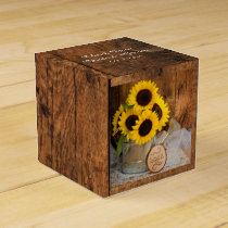 Faux Barn Wood, Sunflower and Watering Can Wedding Favor Box
