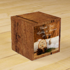Faux Barn Wood, White Hydrangea Barn Wood Wedding Favor Box