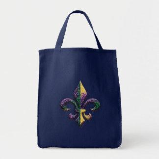 Faux Beaded Fleur de lis Tote Bag
