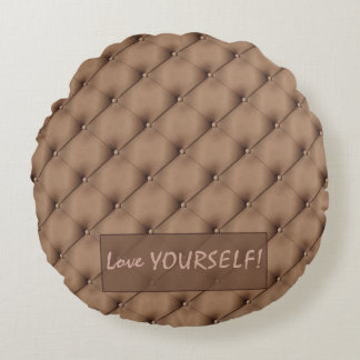 Faux Beige Leather Upholstery Custom Monogram Round Pillow