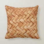 Faux Beige Straw Woven Toss Pillow - Gifts