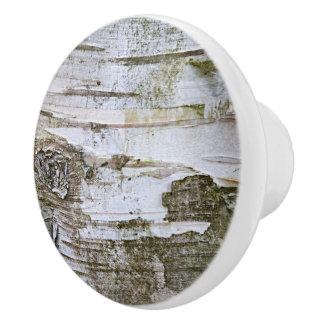 Faux Birch Tree Bark Texture Look Pattern Ceramic Knob