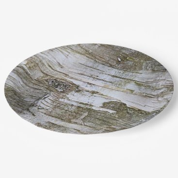 ZizzleZazz Faux Birch Tree Bark Texture Look Pattern Paper Plate