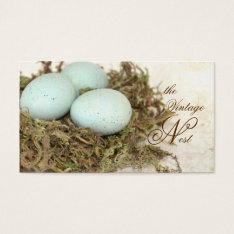 Faux Bird Nest Vintage Style Business Cards at Zazzle