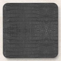 Faux Black Alligator Black Leather Print Beverage Coaster
