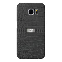 Faux Black Alligator Monogram Samsung Galaxy S6 Case