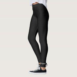 Faux Black Burlap Custom Yoga Leggings with Name