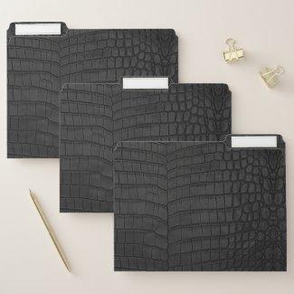 Faux Black Crocodile Leather Print File Folder
