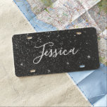 """Faux Black Glitter Bokeh Photo Personalized License Plate<br><div class=""""desc"""">Create your own personalized faux glitter bokeh photo design. The black glitter is created with a photo and a few white sparkle graphics (that can be moved or deleted). The photo was taken with the intent of having some out of focus areas.  A black and white photo.</div>"""