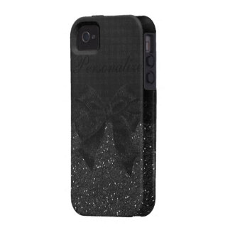 Faux Black Glitter & Bow Personalized iPhone 4/4S Case