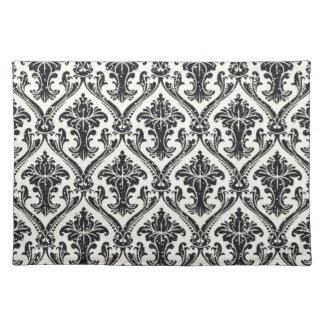 Faux Black Glitter Damask Floral Pattern Kitchen Cloth Placemat