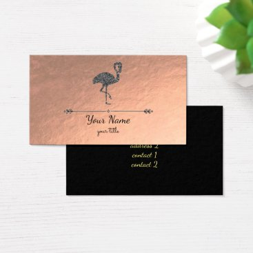 Professional Business faux black glitter flamingo on rose gold business card