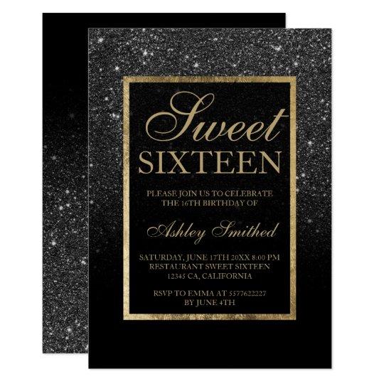 Faux Black Glitter Gold Elegant Chic Sweet 16 Invitation Zazzle Com