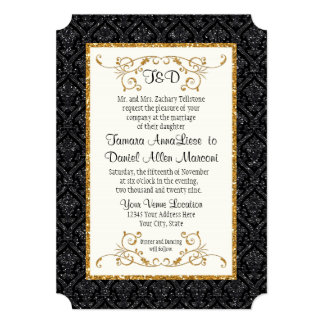 Faux Black Gold Glitter Damask Pattern Wedding Card