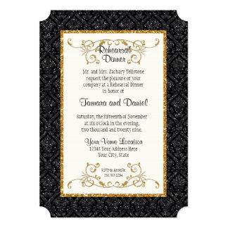 Faux Black Gold Glitter Damask Ticket Style Invite