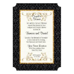 Faux Black Gold Glitter Damask Ticket Style Invite 5