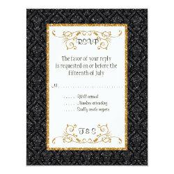Faux Black Gold Glitter Damask Ticket Style RSVP 4.25x5.5 Paper Invitation Card