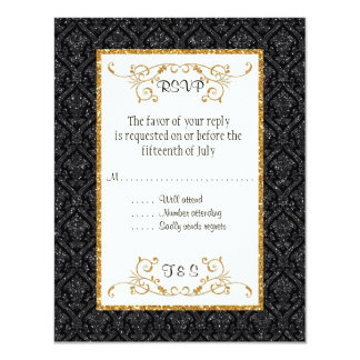Faux Black Gold Glitter Damask Ticket Style RSVP Invitations