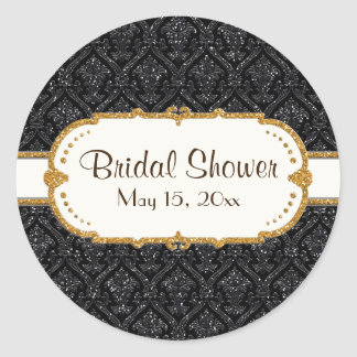 Faux Black Gold Glitter Damask Wedding Stationery Classic Round Sticker