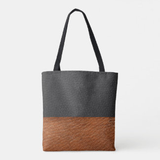 Faux Black/Golden Brown Leather - Tote Bag