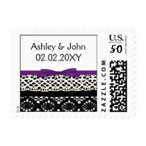 FAUX Black Lace Purple Ribbon Wedding Invitations Postage