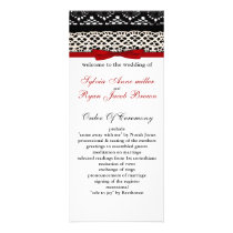 FAUX Black Lace Red Ribbon Wedding Invitations
