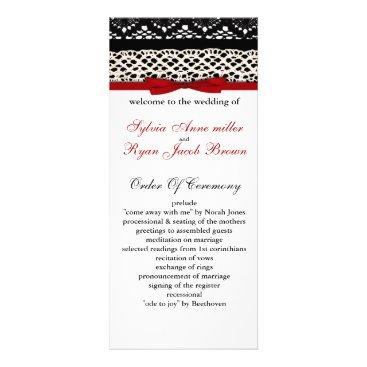 FAUX Black Lace Red Ribbon Wedding Invitations