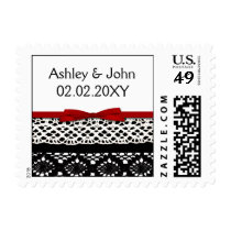 FAUX Black Lace Red Ribbon Wedding Invitations Postage