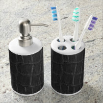 FAUX black leather design Bath Set