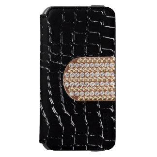Faux Black Leather/Diamond IPhone 6 Wallet