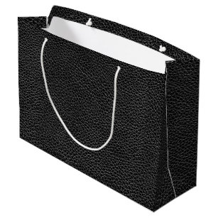 Faux Black Leather Large Gift Bag