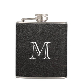 Faux Black Leather Monogram Stainless Steel Flask