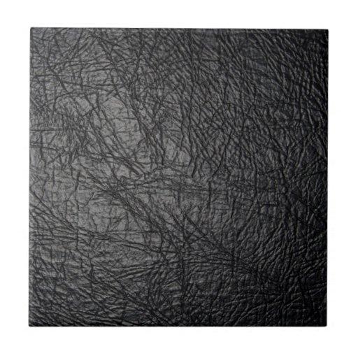 Faux black leather texture ceramic tiles zazzle for Faux leather floor tiles