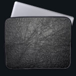 "Faux Black Leather Texture Laptop Sleeve<br><div class=""desc"">Faux Black leather texture closeup detailed background.</div>"