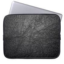 Faux Black Leather Texture Laptop Sleeve