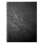 Faux Black Leather Texture Spiral Notebook