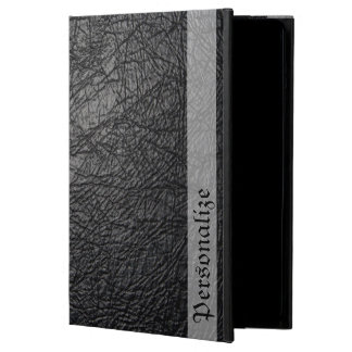 Faux Black Leather Texture with Personalized Name iPad Air Case
