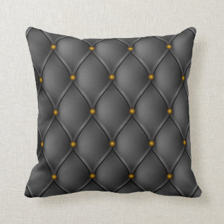 Faux Black Leather Upholstery Brass Nails Look Throw Pillow