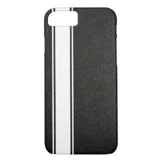 Faux Black Leather & White Stripe iPhone 7 Case