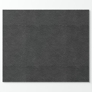 Faux Black Leather Wrapping Paper