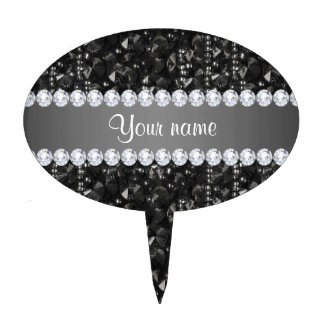 Faux Black Sequins and Diamonds Cake Topper